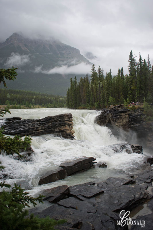 Athabasca Falls on a rainy day