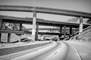 Black and white image of spaghetti junction where I-210 meets I-5