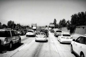 Traffic jam in black and white