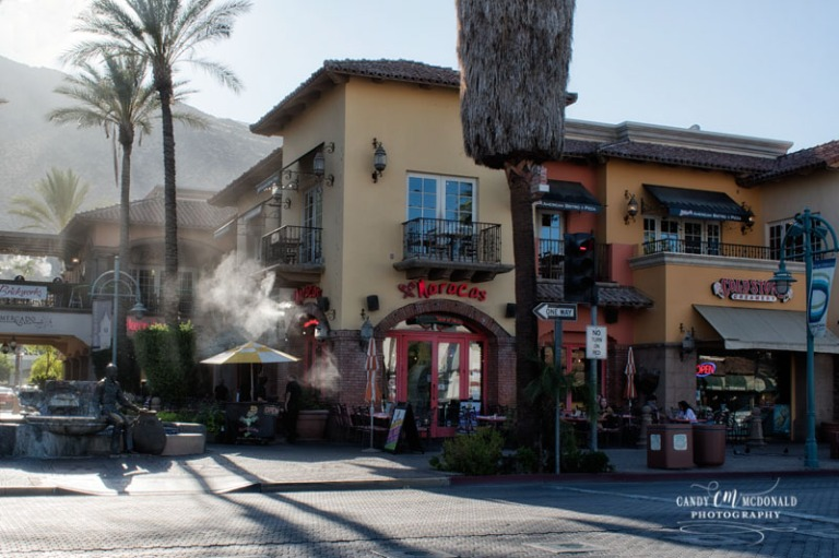 Restaurant in Palm Springs with its cooling misters on