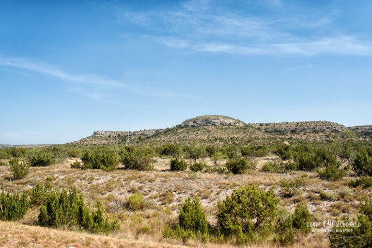Long range view of Texas Hill Country along I-10