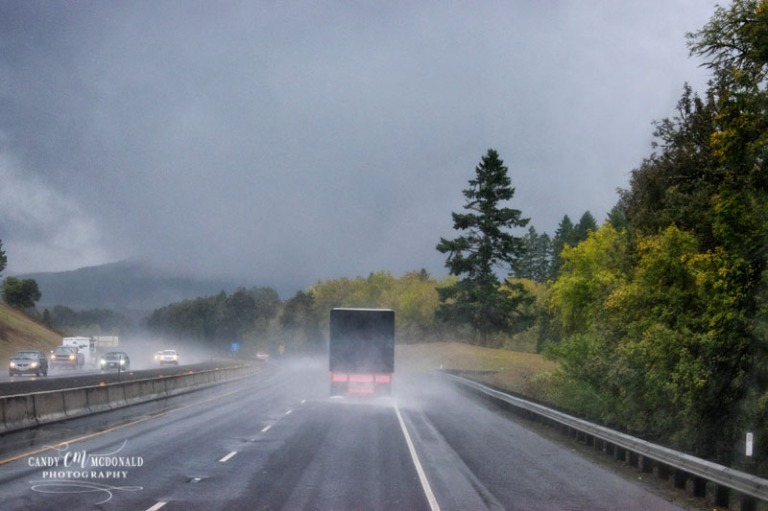 Rainy drive in Oregon on I5